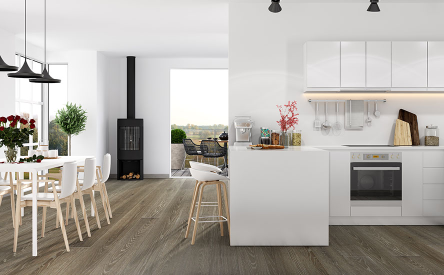 Modern apartment interior featuring Johnson Hardwood's British Isles, Species European oak, color Devon