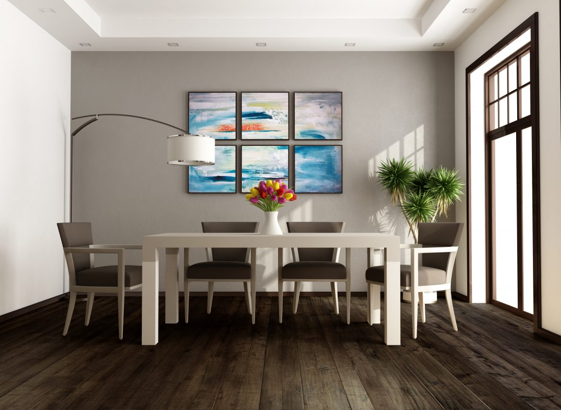 Image showing wood flooring in a dining room scene.