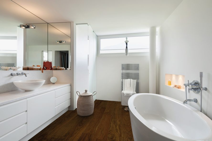 Image showing wood flooring in a bathroom.