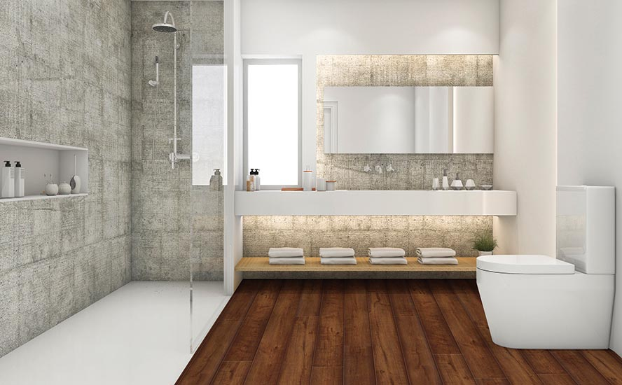 Johnson Hardwood's Skyview Series - SPC, color Manhattan, ROOM SCENE. Modern bathroom, 100% waterproof flooring. Digitally generated contemporary home interior design. The scene was rendered with photorealistic shaders and lighting in Autodesk® 3ds Max 2016 with V-Ray 3.6 with some post-production added.